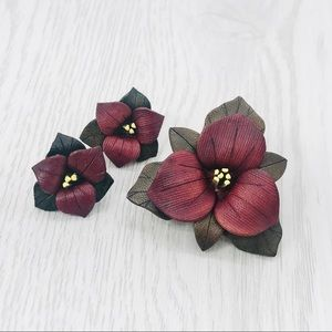 Vintage Leather Brooch and Earrings